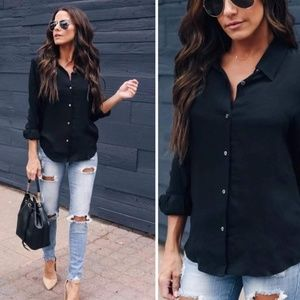 Tops - Womens button down casual work wear black tops